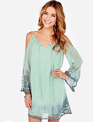 Flowind Women's Sexy/Casual Off-the-shoulder Long Sleeve Dresses (Chiffon)
