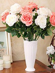 """23.6 """"h moderno seda estilo simulação pano subiu flores em vaso de cerâmica branca multicolor opcional"""