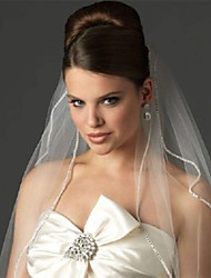 Wedding Veil Two-tier Elbow Rhinestone Edge Veils