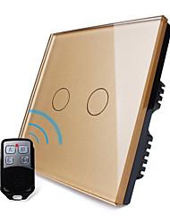 UK Standard,Livolo Luxury Golden Glass Panel,Wireless Remote Home Light, 2Gang 2 Way Switch,110-250VAC