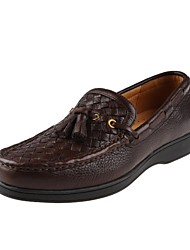 Men's Shoes Casual Leather Boat Shoes Black/Brown