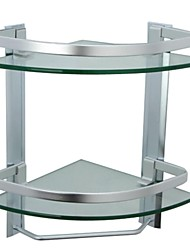 Aluminum Bathroom 2-Tier Glass Corner Shelf with Towel Bar Wall Mounted, Silver Sand Sprayed