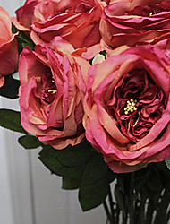 "30""L Italian Rose Silk Cloth Flowers Orange-Coffee"
