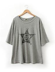 De las mujeres Simple Casual/Diario Primavera Camiseta,Escote Redondo Estampado 1/2 Manga Blanco / Gris Fino