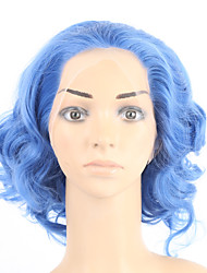 Hot Selling!! 12inch Body Wave Wigs Synthetic Hair Blue Wig Cheap Curly Wigs Lace Front Wig