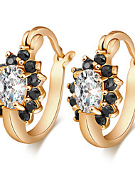 Women's 18K Gold Plating Inlay Zircon Clover Earrings