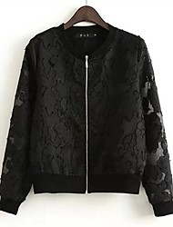 Women's White/Black/Yellow Coat , Casual/Lace Long Sleeve