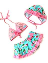 Girl's Bowknot And Flowers Design Swimwear