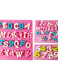 FOUR-C Silicone Cupcake Molds Number Fondant Moulds,Fondant Decorating Tools Supplies Color Pink 3PCS/Set