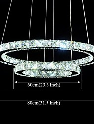 LED Crystal Pendant Lights Lighting Lamps Transparent Crystal Double Round Ring 60CM Plus 80CM Fixtures