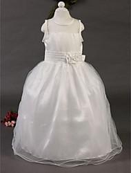 A-line Ankle-length Flower Girl Dress - Cotton/Tulle Sleeveless