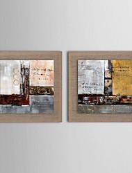 pintura a óleo conjunto abstrato moderno de 2 pintados à mão de linho natural, com quadro esticado