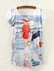 Women's Beach Beauty Print Short Sleeve T-shirts