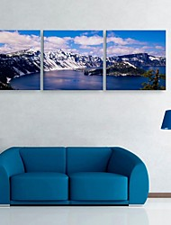 E-HOME® Stretched Canvas Art  Lake And The Snow Capped Mountains Decoration Painting Set of 3
