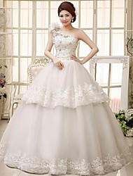 Ball Gown Floor-length Wedding Dress -One Shoulder Lace