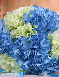 wedding bouquet de mariage mariée tenant des fleurs, colth de soie simulation hortensia, bleu et blanc