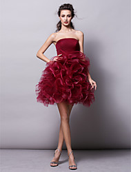 Homecoming Cocktail Party Dress - Burgundy Ball Gown Strapless Short/Mini Tulle