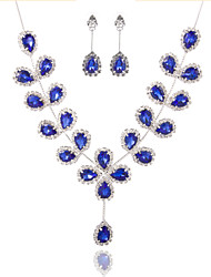 Ladies'/Women's Alloy Wedding/Party Jewelry Set With Rhinestone Royalblue