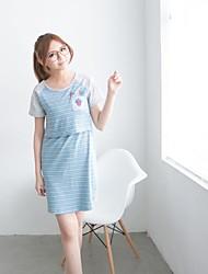 Women's Striped Cute Maternity Dress Nursing Breastfeeding Clothes