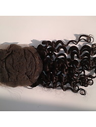 "18""Brazilian Virgin Hair Closure Free Style 3.5""x4"" Straight Natural Colour Hair Pieces Lace Closure"