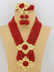 African Jewelry Sets 18K African Crystal Beads Jewelry Set for Wedding Statement Necklace Jewelry