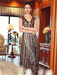 vaina vestido de regreso a casa / columna vestido de noche palabra de longitud satén con cuello en V
