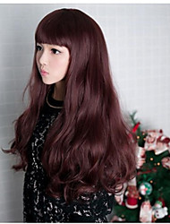 Fashion Style Bangs Wavy Curly  Full Wigs Long Light Dark Brown Black