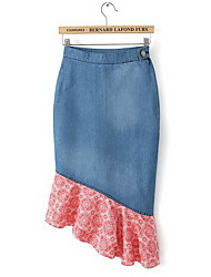 Women's Casual Patchwork Knee-length Skirts (Denim)