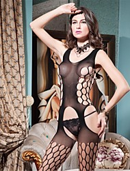 Donna Lingerie con reggicalze Lingerie di pizzo Sensuale Body Indumenti da notte Tinta unita Nylon Elastene Nero