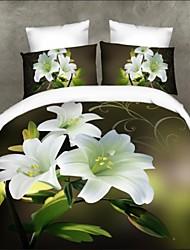 housse de couette, ensemble de literie 3d couverture couette Couette lit scénographie florale lit ensemble