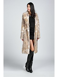 Fur Coats Faux Fur Jackets Long Sleeve Faux Fur Black/Almond