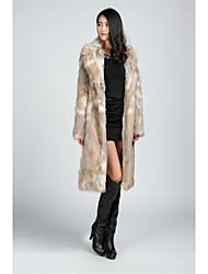 casacos de pele do falso casacos de pele de manga longa faux fur preto / amêndoa