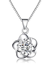 Fashion Elegant Ladies' Silver Necklace With Cubic Zirconia Flower Shape