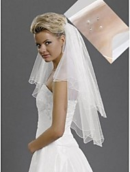Wedding Veil Two-tier Elbow Pearl Diamond Veils Pencil Edge