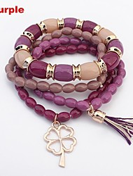 Women's Bohemia Cute Beads Chains Clover Pendant Layers Stretchy Bracelets