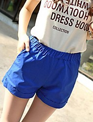 praia do verão de cores doces casuais calções de cintura elástica calças femininas