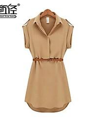 holgado de manga corta delgada más gasa del tamaño camisa de vestir de la mujer