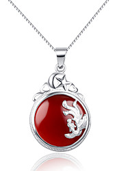 Collier (Argent , Rouge) Onyx