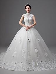Princess Chapel Train Wedding Dress -High Neck Tulle