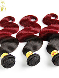 """4 Pcs Lot 14""""-28"""" Ombre Malaysian Body Wave Virgin Human Hair Extensions/Weaves 2 Two Tone Burgundy Wine Red 1B/99J"""