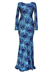 Women's Blue Mermaid Peacock Feather Print Maxi Dress