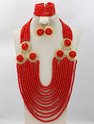 African Beads Jewelry Sets Nigerian Wedding Jewelry Sets Full Beads Indian Bridal Jewelry Sets Hot