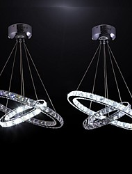 LED Crystal Pendant Lights Transparent Crystal Double Round Ring 30CM Plus 50CM Fixtures