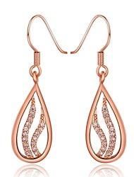 Fashion Diamante Pierced Water-Drop Rose Gold Rose Gold-Plated Drop Earrings(Rose Gold)(1Pair)