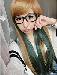 Fashion Cartoon High Temperature Wire Yellow Green Color Wig