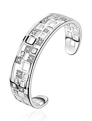 Lureme Elegant Style 925 Sterling Sliver Hollow Geometry Charm Bangle for Women Christmas Gifts