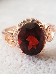 925 silver plated in Rose Gold Garnet Ring
