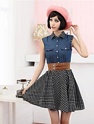 Women's Sleeveless Polka Chiffon Dress
