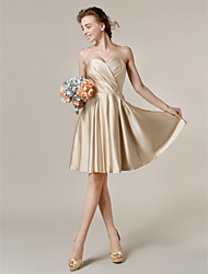 Lanting Bride® Knee-length Satin Mix & Match Sets Bridesmaid Dress - A-line / PrincessBateau / Jewel / One Shoulder / Strapless /