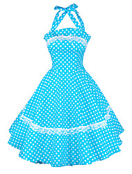 Maggie Tang Women's Halter 50s Vintage Polka Dots Housewife Rockabilly Swing Dress,Plus Size